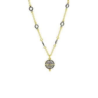 freida rothman yellow tone sterling silver & black rhodium textured ornaments choker necklace, 13""