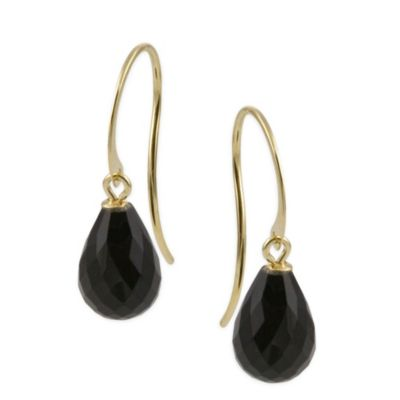 14K Faceted Black Onyx Drop Earrings