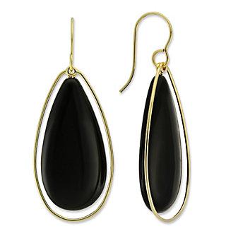 14K Yellow Gold Black Onyx Teardrop Earrings