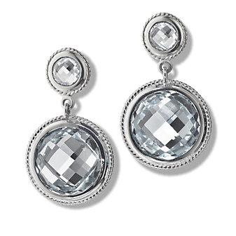 Monica Rich Kosann Sterling Silver Rock Crystal Double Drop Milligrain Earrings