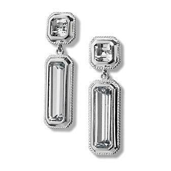 Monica Rich Kosann Sterling Silver Rock Crystal Drop Earrings