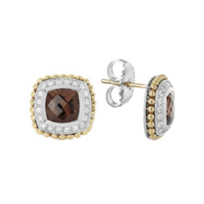 Lagos_Sterling_Silver_&_18K_Yellow_Gold_Smokey_Quartz_&_Diamond_Earrings