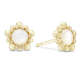 Anzie 14K Yellow Gold Dew Drop White Mother-of-Pearl Earrings
