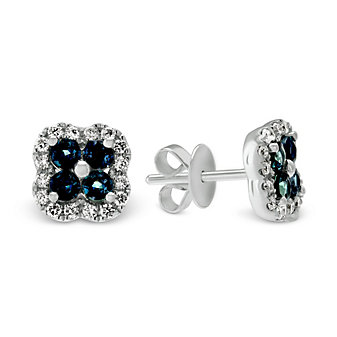 14K White Gold Alexandrite and Diamond Flower Earrings