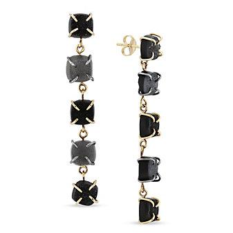 Melissa Joy Manning 14K Yellow Gold Black & Grey Druzy Drop Earrings