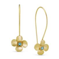 14K_Yellow_Gold_Turquoise_Flower_Earrings