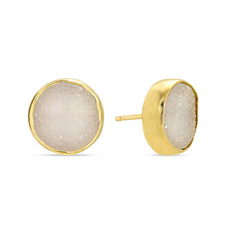 Melissa Joy Manning 14K Yellow Gold Round White Druzy Post Earrings