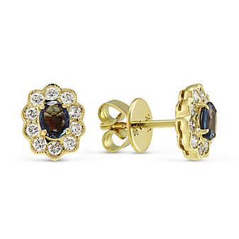 18K Yellow Gold Oval Alexandrite and Round Diamond Earrings