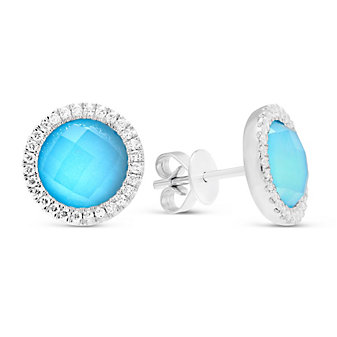 18K White Gold White Topaz & Turquoise Doublet Earrings With Diamond Accents