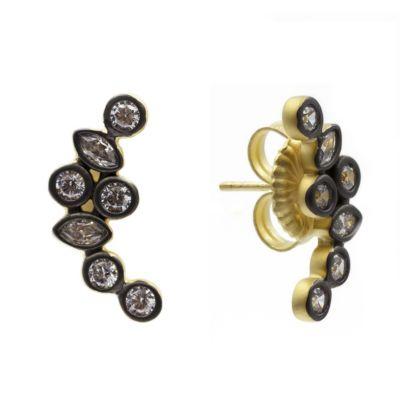 Freida Rothman Sterling Silver Cluster Stone Earrings
