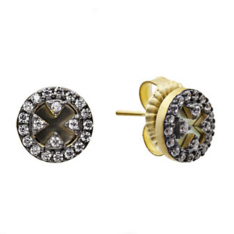 Freida Rothman Sterling Silver Slated Noir Disc Earrings