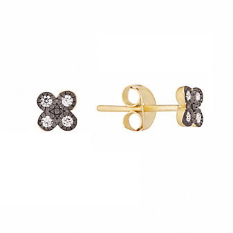 Freida Rothman Sterling Silver Tiny Clover Stud Earrings, Black
