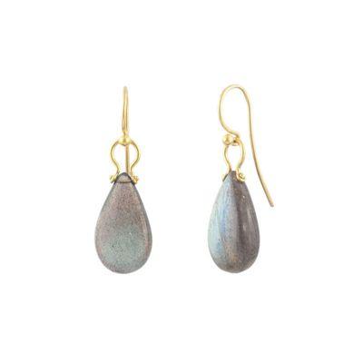 gurhan 24k yellow gold teardrop labradorite shepherd hook earrings