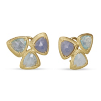 14K_Yellow_Gold_Aquamarine,_Blue_Aventurine_Quartz_and_Blue_Topaz_Trillion_Earrings