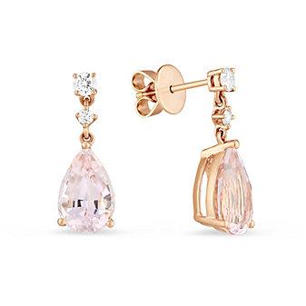 14K Rose Gold Morganite and Diamond Drop Earrings