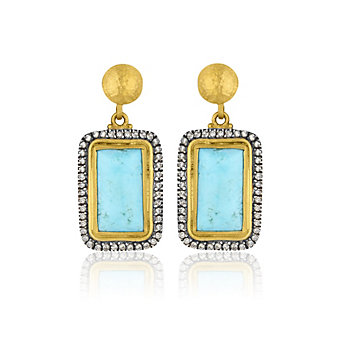 Lika Behar 24K Yellow Gold Oxidized Sterling Silver Cabochon Turquoise and Brown Diamond Earrings