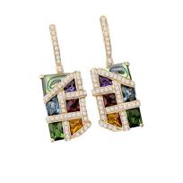 Bellarri_14K_Rose_Gold_Multi_Stone_And_Diamond_Mosaic_Nouveaux_Earrings