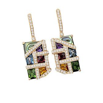 Bellarri 14K Rose Gold Multi Stone And Diamond Mosaic Nouveaux Earrings