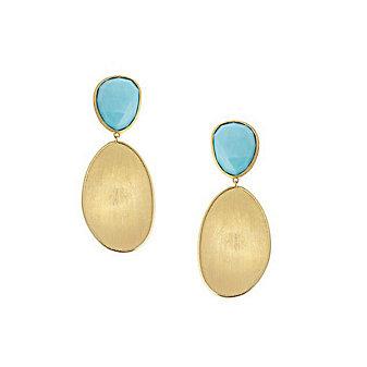 Marco Bicego 18K Yellow Gold Turguoise Lunaria Double Drop Earrings