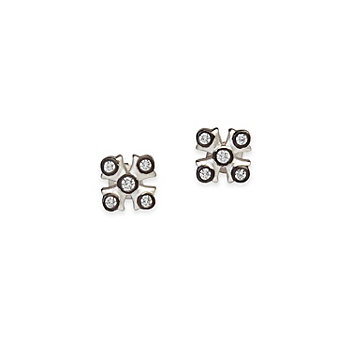 Freida Rothman Sterling Silver and Black Rhodium Maltese Post Earrings