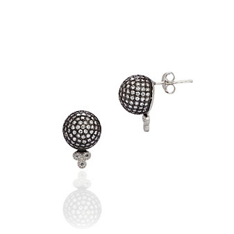 Freida Rothman Sterling Silver and Black Rhodium Pave Ball Stud Earrings