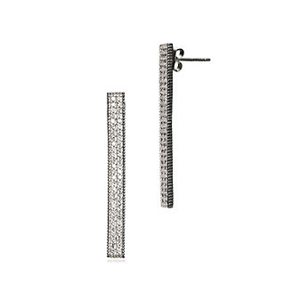 freida rothman sterling silver & black rhodium double row pave bar post earrings