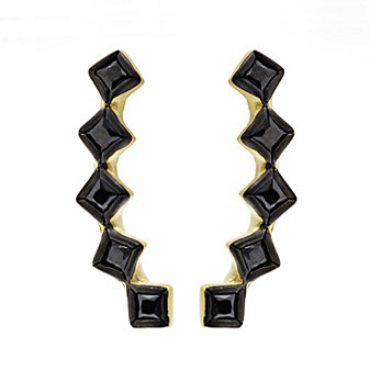 Freida Rothman Sterling Silver Yellow Tone Harlequin Climber Earrings