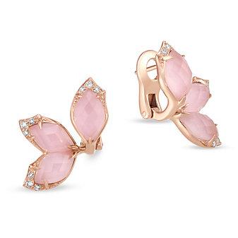 Stephen Webster 18K Rose Gold Pink Opal Doublet & Diamond Flower Earrings