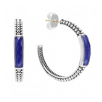 Lagos Sterling Silver Maya Lapis Doublet 35mm Hoop Earrings with 14K Yellow Gold Posts