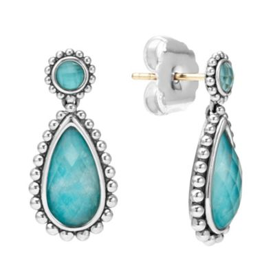 lagos sterling silver rock crystal quartz & turquoise maya teardrop earrings