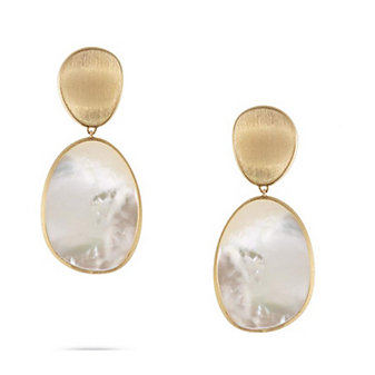 marco bicego 18k yellow gold lunaria mother of pearl double drop earrings