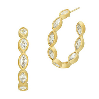 freida rothman yellow tone sterling silver marquise inside out hoop earrings