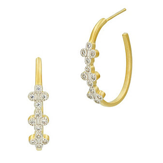 freida rothman yellow tone sterling silver clover hoop earrings