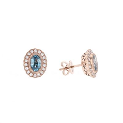 14k rose gold oval blue zircon & diamond scalloped halo earrings