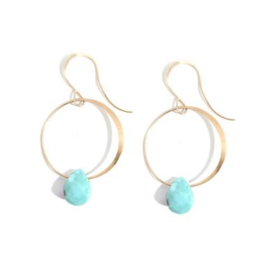 melissa joy manning 14k yellow gold turquoise dangle hoop earrings with shepherd hooks