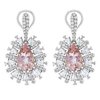 18k white gold pear shaped morganite and pear shaped diamond rose cut earrings