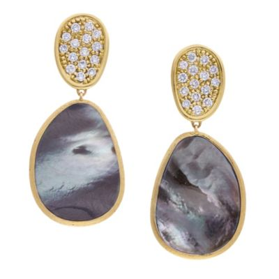 marco bicego 18k yellow gold black mother of pearl & diamond pave lunaria drop earrings