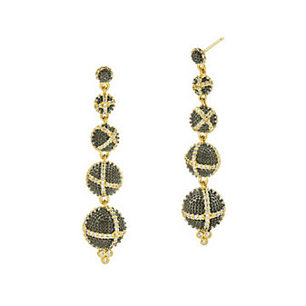 freida rothman yellow tone sterling silver & black rhodium textured ornaments linear drop earrings