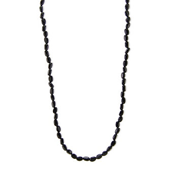"""14K Yellow Gold Onyx Bead Necklace, 17.5"""""""