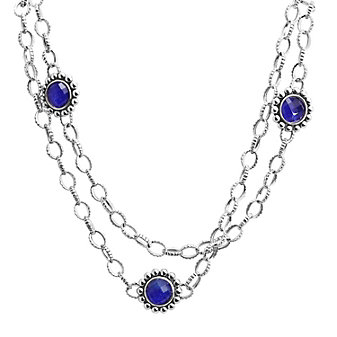 Lagos Sterling Silver Maya Lapis Doublet Link Necklace