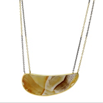 Melissa_Joy_Manning_14K_Yellow_Gold_&_Oxidized_Sterling_Silver_Brown_Agate_Necklace