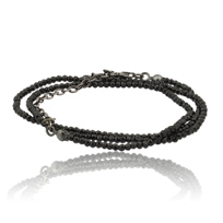 Lika_Behar_Oxidized_Sterling_Silver_Black_Spinel_Bead_Necklace,_40""
