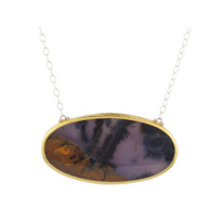 """Gurhan_Sterling_Silver_&_Yellow_Tone_Oval_Agate_Necklace,_19.5"""""""