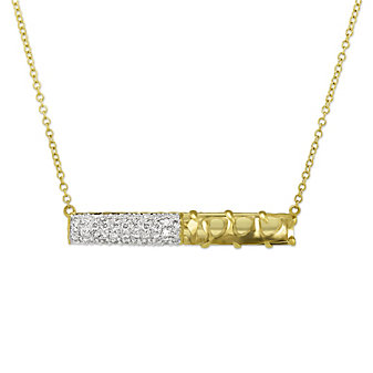 Phillips House 14K Yellow Gold Crystal Quartz and Diamond Bar Necklace