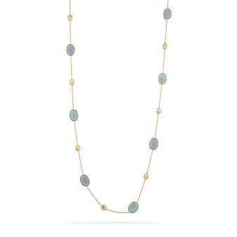 "Marco Bicego 18K Yellow Gold Siviglia Chalcedony & Aquamarine Necklace, 36"""