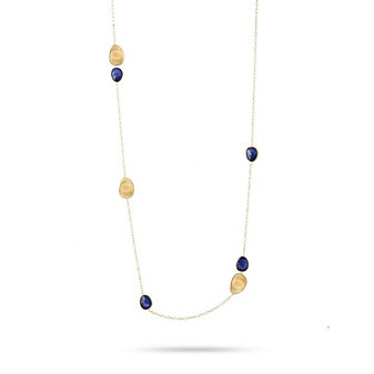 Marco Bicego 18K Yellow Gold & Lapis Lunaria Long Chain Necklace, 40""