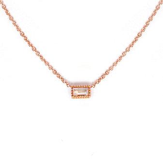 14K Rose Gold Baguette Moonstone Necklace
