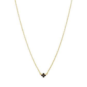 Freida Rothman Sterling Silver Mini Black Clover Necklace