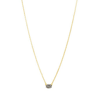 Freida Rothman Sterling Silver Oval Pave Disc Necklace, Black & Gold