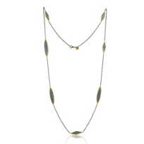 Lika_Behar_24K_Yellow_Gold_and_Oxidized_Sterling_Silver_Labradorite_7_Station_Necklace,_38""